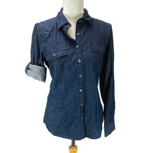 J Crew Keeper Chambray Shirt in Dark Rinse Size 6